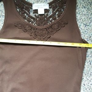 august silk Tops - Small Brown Tank top with Embroidered neckkine